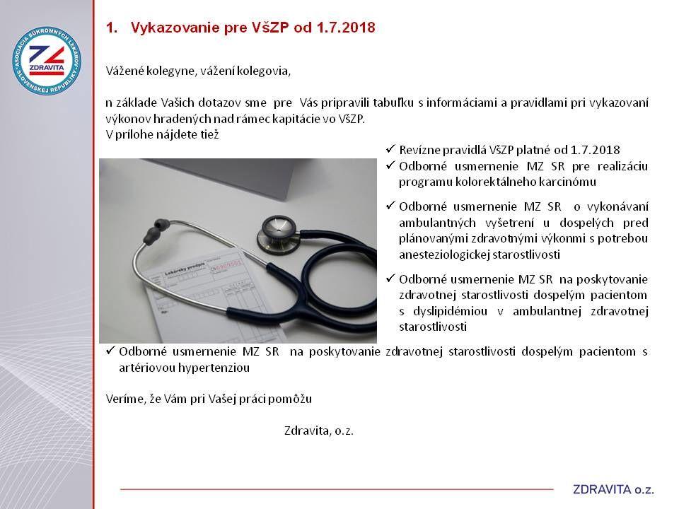 0caeecbd4bd3 Newsletter Október 2018 - VLD  Ako vykazovať do VšZP